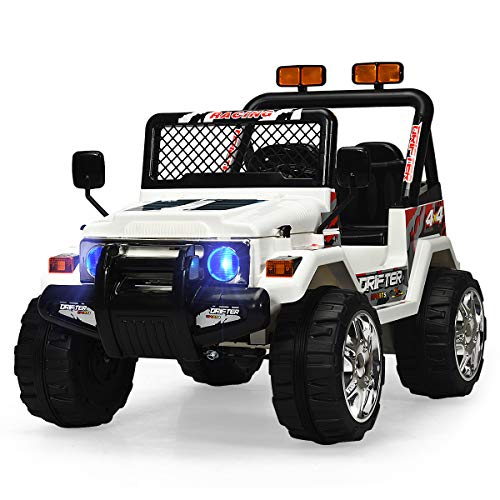 INFANS Kids Ride on Car Truck with Remote Control,12V Battery Powered Electric Cars for Kids w/3 Speeds, Adjustable Volume, Battery Display, LED Headlights, Music & Horn, MP3/ AUX/USB/TF Card, White
