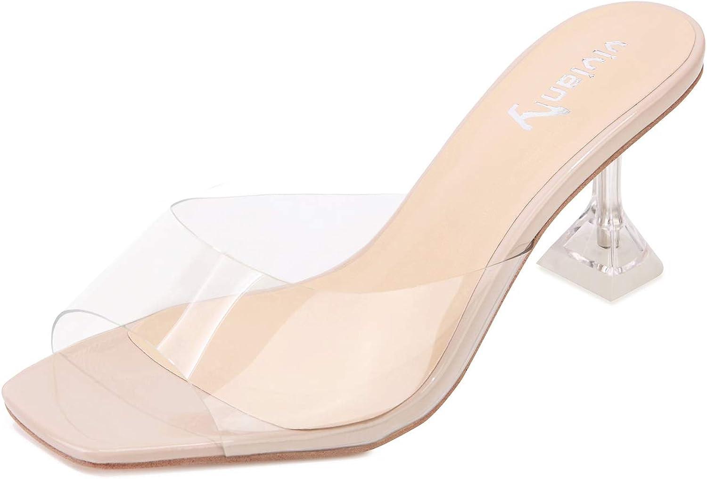 vivianly Womens Clear 1着でも送料無料 Heels Sandals Transparent 100%品質保証 Mules Toe Peep B