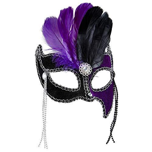 Widmann Generique - Loup Bicolore Violet et Noir avec Plumes Femme