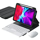WYZDQ Keyboard with Touchpad Case for Ipad Pro 11 Inch 2021, Tri-Fold Bracket Cover, Magnetically Split Bluetooth Keyboard and Back Cover with Charging Pen Slot,Black+White