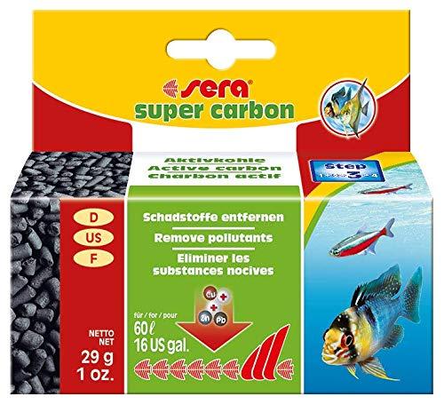Sera Super carbon Premium actieve koolstof of filterkool voor het aquarium onmiddellijke hulp in acute vergiftiging en verwijdert schadelijke stoffen en verkleuringen, 29g für 60 Liter