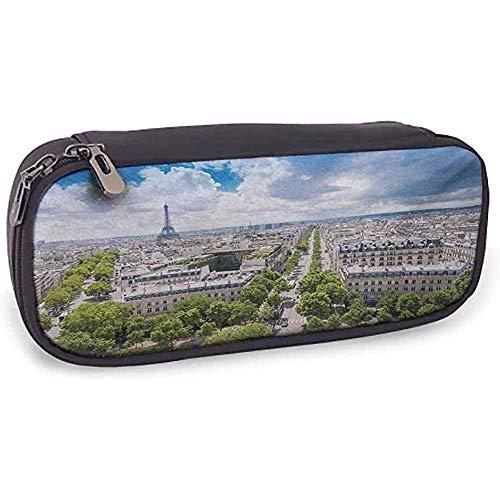 Flexible Pencil Bag Europäische leicht zu tragende Antenne Paris Eiffelturm Französisches Erbe Kultur Architektur Bild Hellblau Creme Grün