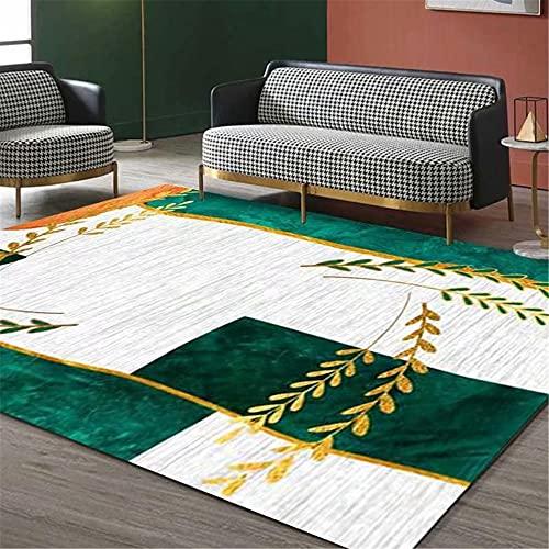 IRCATH Verde Blanco Abstracto patrón geométrico Moda Accesorios de hogar sofá Sala de Estar Sala de Estar alfombra-160x230cm Resistente y Duradera Resistente a la presión sin decoloración