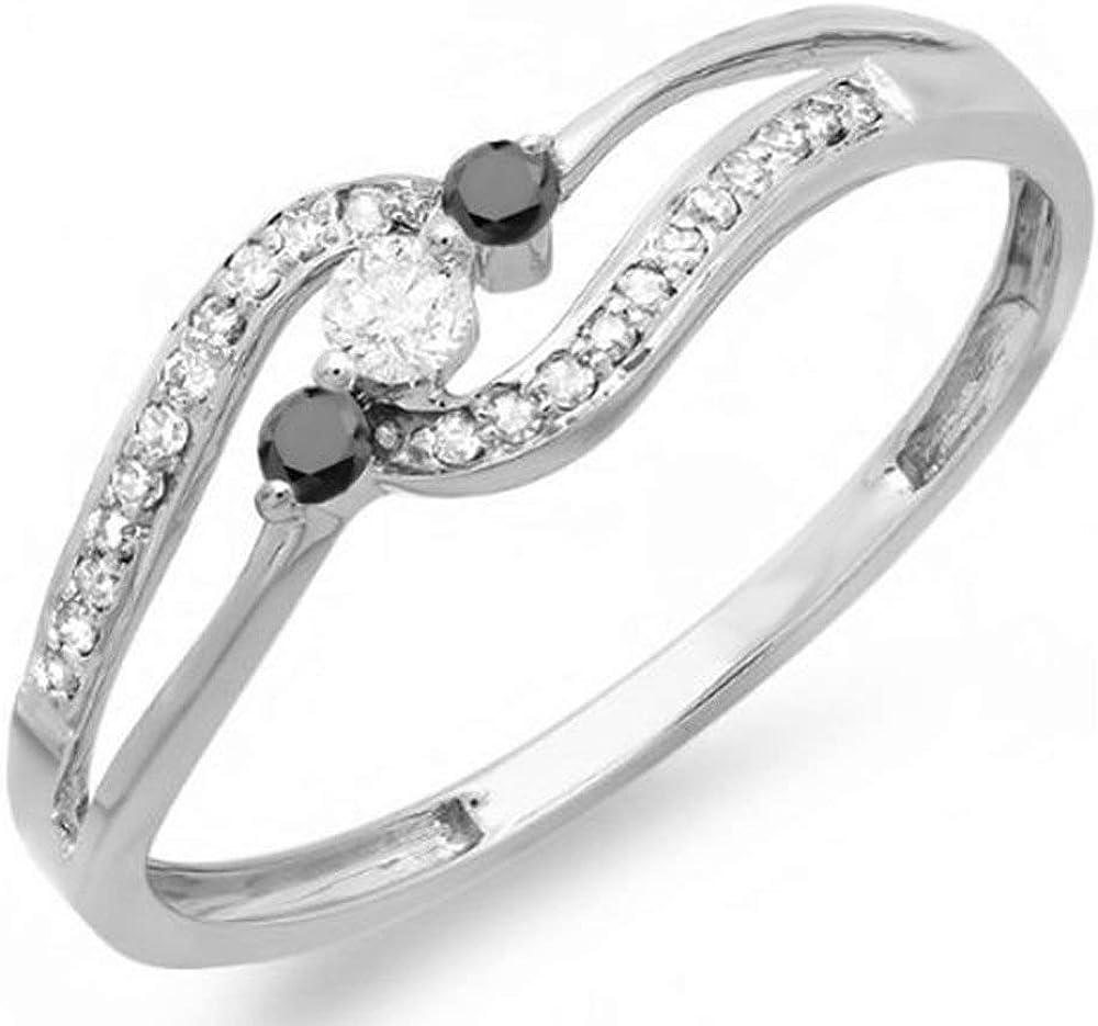 Dazzlingrock Collection 0.20 Carat (ctw) 14k Round Black and White Diamond Ladies 3 Stone Engagement Ring 1/5 CT, White Gold