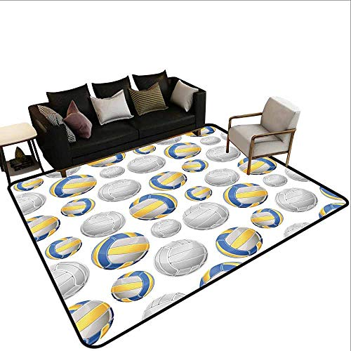 Groot tapijt Geel en Blauw, Portugees Traditionele Tegels Abstract Mozaïek Bloemen Swirl Motieven, Blauw Oranje Geel