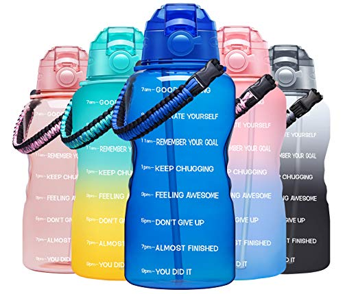 Fidus Large Half Gallon/64OZ Motivational Water Bottle with Paracord Handle & Removable Straw - BPA Free Leakproof Water Jug with Time Marker to Ensure You Drink Enough Water Daily-Deep Blue