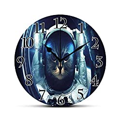 BCWAYGOD Space Cat Silent Wall Clock Kitty in Space Suit Loking from Rocket in Galactic Space Orbit Artwork Desk Clock Round Unique Decorative for Home Bedroom Office 10in
