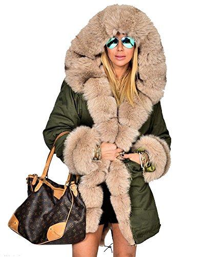 Roiii Damen Winter Hoodies Mantel Kunstpelz verdicken Parka Casual Mantel Jacke Übergröße 36-50 (XL,Grün)
