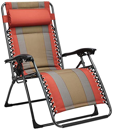 Amazon Basics Outdoor Padded Zero Gravity Lounge Beach Chair - 65 x 29.5 x 44.1 Inches, Red