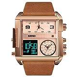 SKMEI - Reloj deportivo digital para hombre, LED, cuadrado, de cuarzo, analógico, con cronómetro, resistente al agua