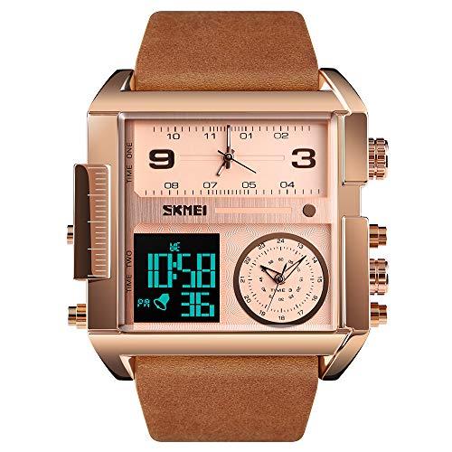 SKMEI Herren Digital Sportuhr LED Quadratisch Großes Zifferblatt Analog Quarz Armbanduhr mit Multi-Time Zone Wasserdicht Stoppuhr roségold braun