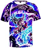FLYCHEN T-Shirt Colorful Impreso en 3D Dragon Ball para Hombre Super Saiyan Cosplay Wu Camiseta Goku...