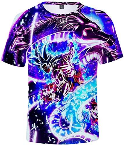 FLYCHEN T-Shirt Colorful Impreso en 3D Dragon Ball para Hombre Super Saiyan Cosplay Wu Camiseta Goku