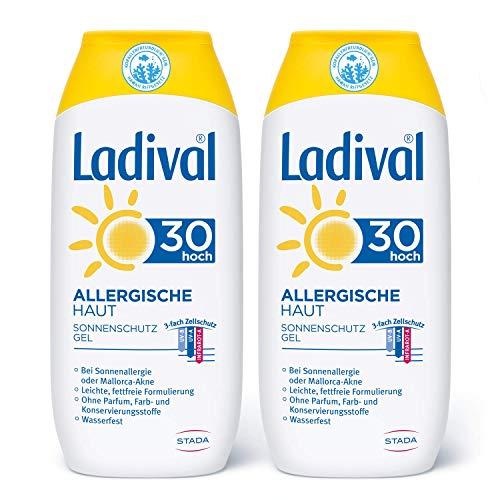 Ladival Allergische Haut 2 x Sonnenschutz Gel LSF 30 Parfümfreies Sonnengel für Allergiker ohne Farb und Konservierungsstoffe wasserfest 2 x 200 ml, keine, 400 milliliter
