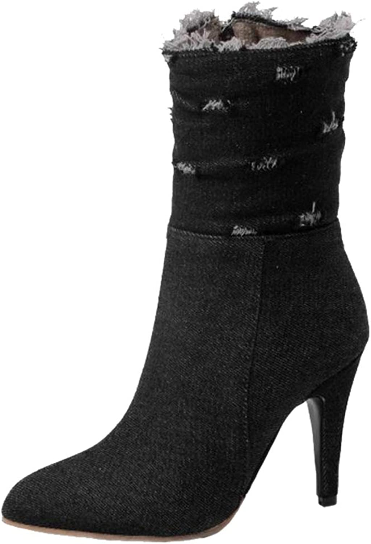 SJJH Women Mid-Calf Stiletto Jean Boots
