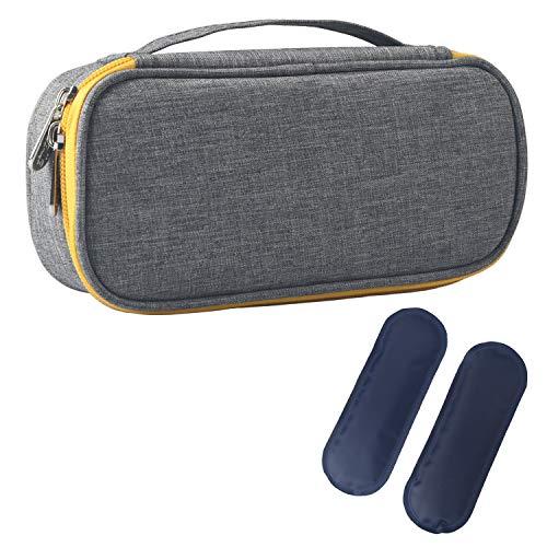 Insulin Kühltasche Diabetiker Tasche für Medikamente Thermotasche aus Oxford-Stoff und Alufolien (S Grau Gelb mit Tragegriff + 2 Kühlakkus)
