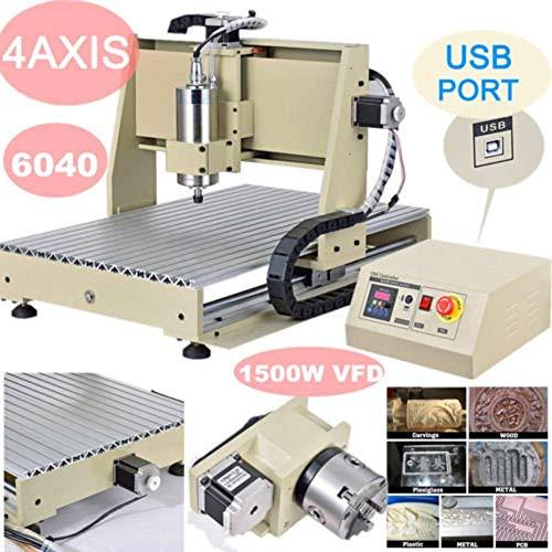 Best Bargain CNCEST Milling Machines, 4 Axis 6040 USB Port 1500W CNC Router Engraver MACH3 VFD Print...