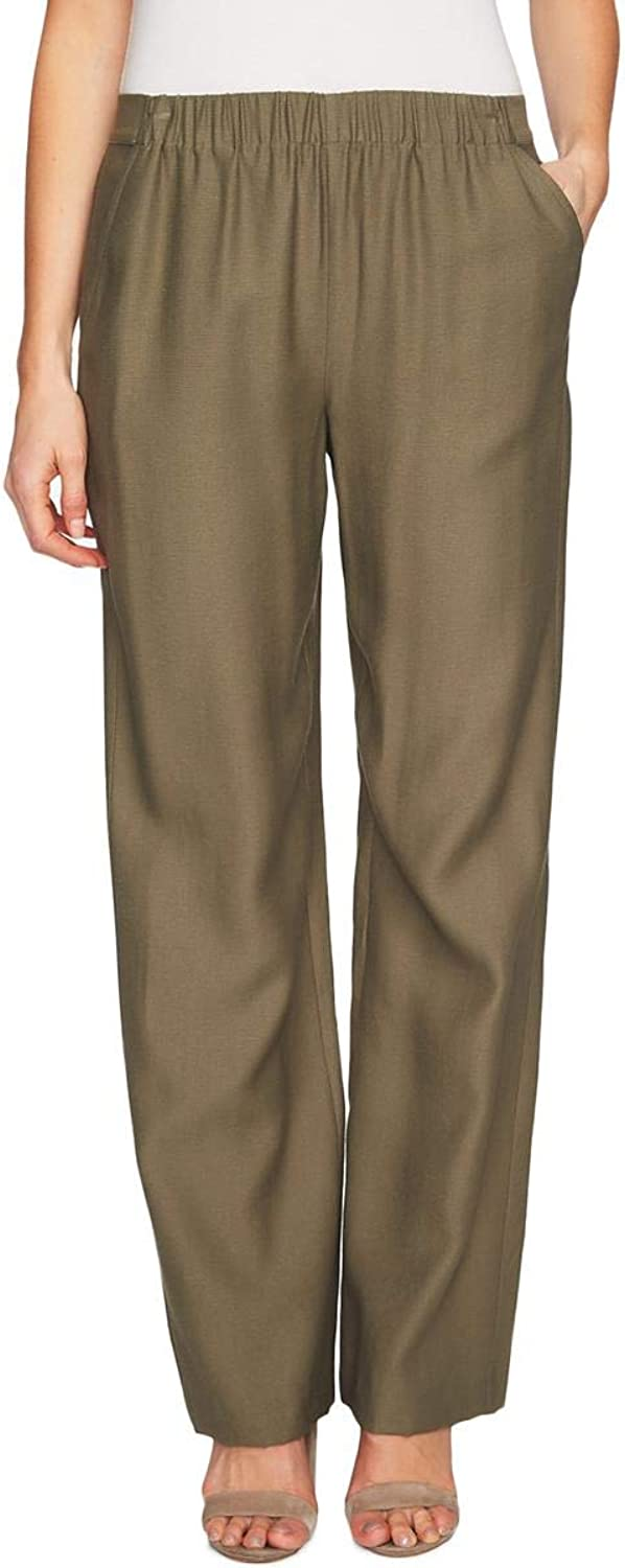 CeCe Womens Day to Night Dressy Wide Leg Pants Green S