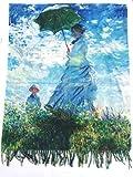 Bufanda viscosa y lurex doble impresión Monet Mujer con sombrilla y nenúfares regalo mujer arte moda estola foulard