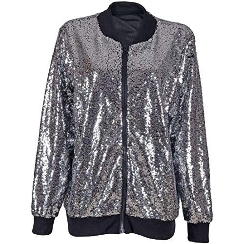 Echt leven FASHION LTD. Womens Sequin Glitter Dance Party Coat Dames Lange Mouw Biker Bomber Jacket