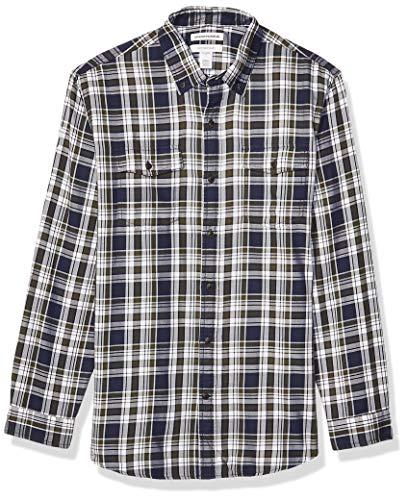 Amazon Essentials Men's Regular-Fit Long-Sleeve Twill Shirt, Blue/Olive Plaid, X-Large