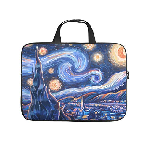 Starry Night Mood Laptop bag Pattern Laptop Case Bag Soft Shockproof Computer Protective Bag with Portable Handle for Women Men white 17 zoll
