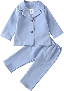 Baby Girls Wedding Suit Sets Candy Color Button Coat Elastic Waist Pants Fall Party Normal Outfits for Toddler Kids