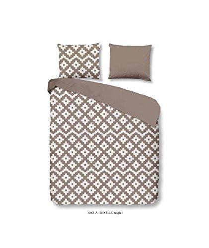 GOOD MORNING Parure de couette Textile 100% coton - 1 housse de couette 200x200 cm + 2 taies d'oreillers 60x70 cm taupe