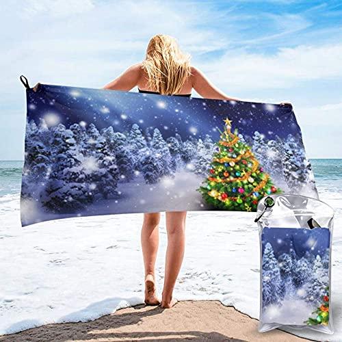 Toallas de Playa de Antiarena de Microfibra para Hombre Mujer, 130x80cm, Toallas Baño Calidad Gigante Secado Rapido para Piscina, Manta Playa, Toalla Yoga Deporte Gimnasio,Árbol de Navidad teesobunny