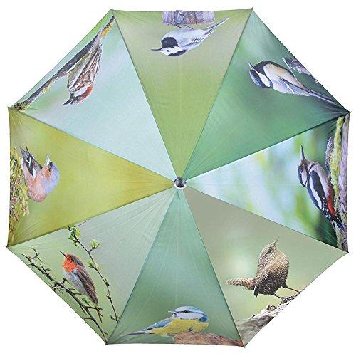 Esschert Design Regenschirm Vögel aus Polyester, Metall und Holz, 120,0 x 120,0 x 95,0 cm