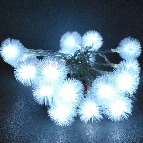 JnDee Guirlande lumineuse à 40 LED en forme de boule de fleurs Blanc froid 4 m