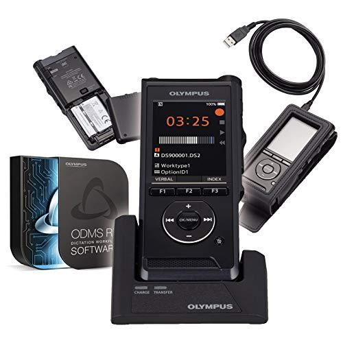 Olympus DS-9000 | Dictáfono Profesional con Software de gestión de dictados ODMS | Pin | Cifrado | 2 micrófonos Integrados | USB | Interruptor Deslizante Integrado | Estación de Acoplamiento
