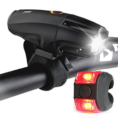 Juego de luz para bicicleta LED con batería 2600mAh–Yami The Dark Night frontal luz y rückleucht–Bicicleta Luz USB recargable–luz de bicicleta | impermeable, 6Luz, orientable, Negro,