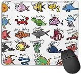 Alfombrilla de ratón para juegos, para niños, acuario, dibujos animados, pulpo, delfín, tiburón, ballena, payaso, pez, medusa, cangrejo ermitaño, marino, base de goma antideslizante, alfombrilla de ra