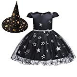 OBEEII Disfraz de Halloween Bruja Estrelle Princesa Vestido con Sombrero de Bruja 2Piezas Costume...