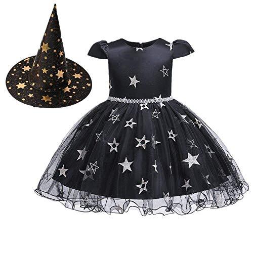 OBEEII Halloween Costume Disfraz de Bruja para Bebé Niñas Estrelle Princesa Vestido con Sombrero Bruja 2Piezas Outfit Negro 6-12 Meses