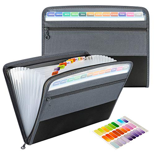 Uquelic Clasificadores Carpetas, 13 Bolsillos Clasificador Documentos Acordeon, Portátil Organizador de Archivos A4 de Cremallera (Negro)
