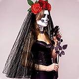 E-More Diadema de Halloween con Velo de Encaje Negro, Diadema de Flores Rosas, Accesorios para el Cabello de Encaje de Malla de Rosas Rojas, Tocado de Fiesta de Novia Fantasma de Halloween