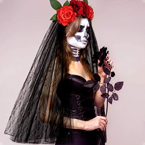 E-More Halloween Stirnband mit schwarzem Spitzenschleier, Elastische Rose Blume Haarband Rote Rosen Mesh Spitze Haarschmuck Halloween Geist Braut Party Kopfschmuck für Mädchen Damen Frauen