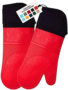HOMWE Extra Long Professional Silicone Oven Mitt Oven Mitts with Quilted Liner Heat Resistant Pot Holders Flexible Oven Gloves Red 1 Pair 14.7 Inch