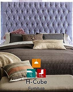 H-Cube zagłówek rumuński Chesterfield łóżko Divan zagłówek - zgnieciony aksamit - wysokość 30 cali (około 76 cm) - guziki ...