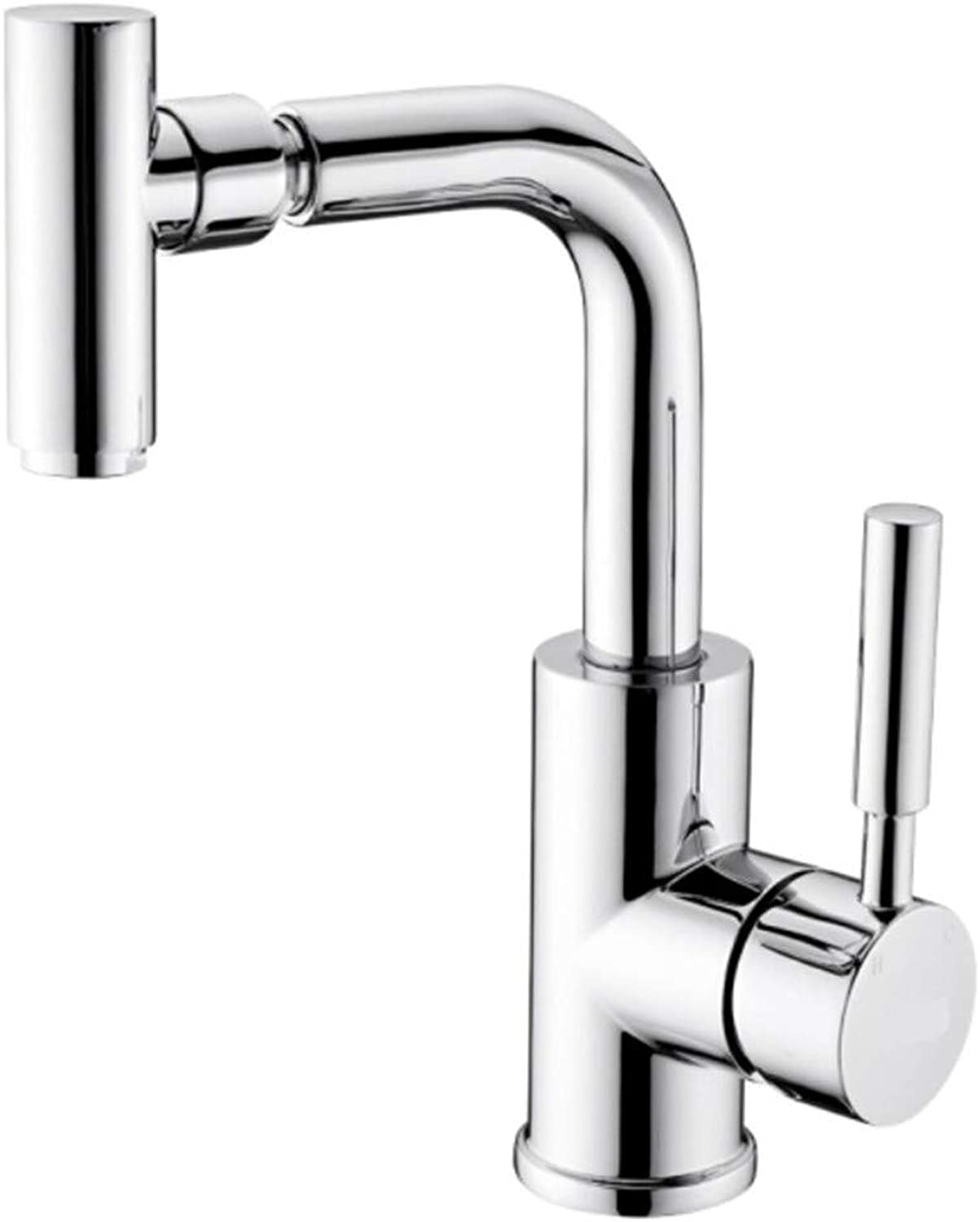 Pull Out The Pull Down Stainless Steelbathroom Bath Basin Faucet All Copper Inner Core Hot and Cold Universal Single Hole Faucet