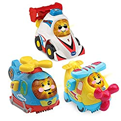 THREE TODDLER CARS INCLUDED: This Toot-Toot cars playset includes a cute and chunky helicopter, a cool race car and a cute aeroplane - babies love to 'BROOM BROOM' with Toot-Toot Drivers BABY MUSICAL TOY: Press the light up face button on each of the...