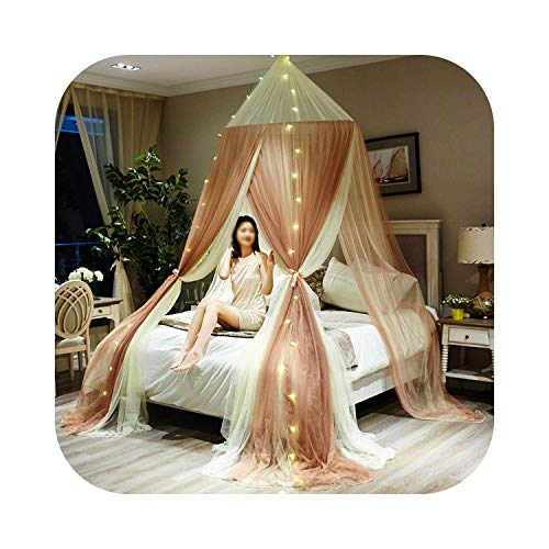 HOT-house Round Hung Dome Mosquito Net Fine Mesh Mosquito Nets For Double Bed Mosquito Netting For Bed Canopy Net Tent Bedroom Decor-Yellow With Lamp-1.8m (6 Feet) Bed
