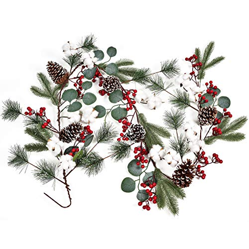 YQing 11 Kind of Christmas Berry Garland con pinecone (foglia verde)