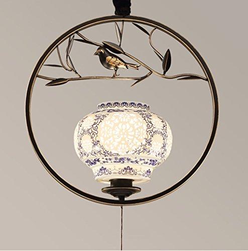 $éclairage Lampe de penderie oiseau moderne en fer forgé/salle à manger/entrée / allée/balcon / lanternes créatives tête unique lustre lumières intérieures (Couleur : Noir)