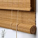 Outdoor Bamboo Window Shades Blinds, Waterproof Wood Roller Shades With 6 Inches Valance, Light...