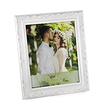 WoodArt Wooden Picture Frame (5x7, White W/Flowers)