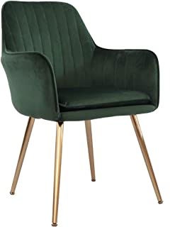 Accent Living Room Leisure Armchair Velvet Fabric Dining Chair with Golden Metal Legs (Green)