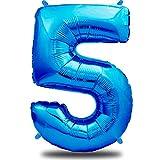 envami Globos de Cumpleãnos 5 Azul I 101 CM Globo 5 Años I Globo Numero 5 I Decoracion 5 Cumpleaños Niños I Globos Numeros Gigantes para Fiestas I Vuelan con Helio
